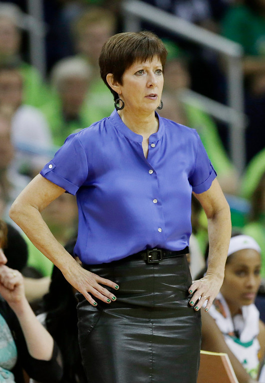 Description of . Notre Dame head coach Muffet McGraw watches action against Notre Dame in the first half of the women\'s NCAA Final Four college basketball tournament semifinal against Connecticut, Sunday, April 7, 2013, in New Orleans. (AP Photo/Dave Martin)