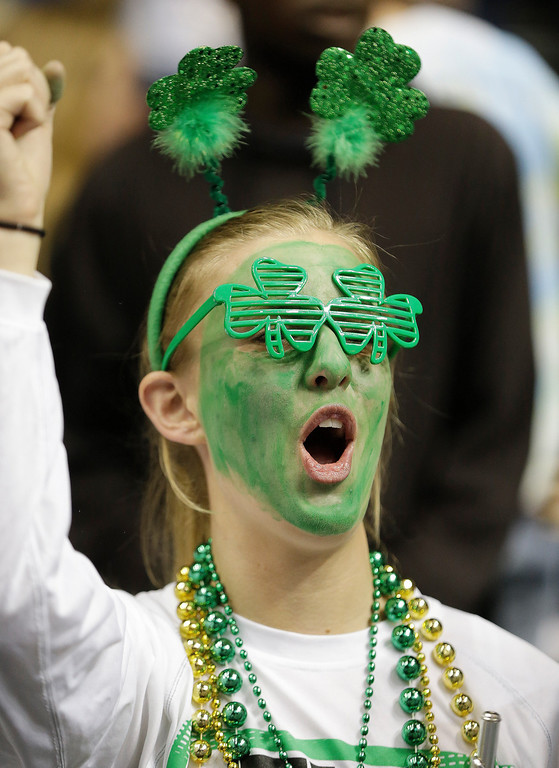 Description of . A Notre Dame fan cheers before the first half of the championship game between Notre Dame and Connecticut in the Final Four of the NCAA women's college basketball tournament, Tuesday, April 8, 2014, in Nashville, Tenn. (AP Photo/Mark Humphrey)