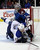 St. Louis Blues center Vladimir Sobotka, of the Czech Republic, collides with Colorado Avalanche goalie Semyon Varlamov, of Russia, during the second period of an NHL hockey game Wednesday, Feb. 20, 2013, in Denver.(AP Photo/Joe Mahoney)