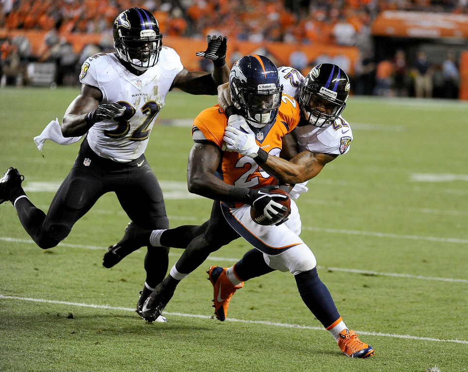 Description of . Denver Broncos running back Montee Ball (28) breaks free for a run to the 2-yard line during the third quarter. Denver Broncos Baltimore Ravens September 5, 2013 at Sports Authority at Mile High. (Photo by Tim Rasmussen/The Denver Post)