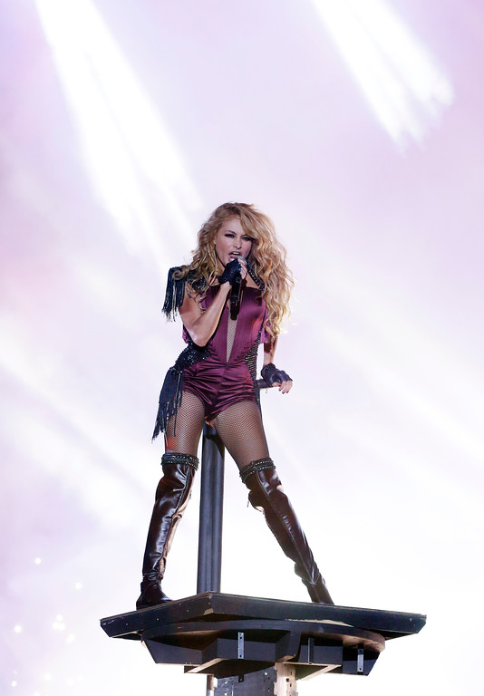 Description of . Singer Paulina Rubio performs at the Latin Billboard Awards in Coral Gables, Fla., Thursday April 25, 2013. (AP Photo/Alan Diaz)
