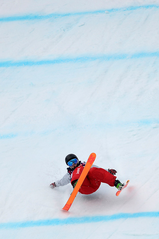 Description of . Anna Mirtova of Russia competes in the Freestyle Skiing Women\'s Ski Slopestyle Qualification on day four of the Sochi 2014 Winter Olympics at Rosa Khutor Extreme Park on February 11, 2014 in Sochi, Russia.  (Photo by Cameron Spencer/Getty Images)