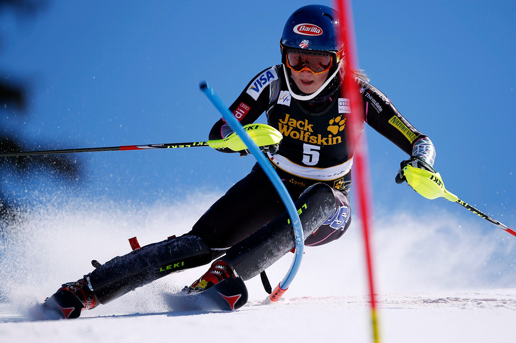 Description of . Mikaela Shiffrin from United States speeds down the course during the women's slalom of the Alpine skiing World Cup finals in Lenzerheide, Switzerland, Saturday, March 16, 2013. (AP Photo/Shinichiro Tanaka)
