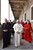 Pope Benedict XVI (C) accompanied by Italian Cardinal Agnelo Sodano (L) and Spanish Cardinal Eduardo Martinez Somalo walk towards the pontiff's new apartment April 20, 2005 in Vatican City. Cardinal Ratzinger was elected the new Pope on April 19.  (Photo by Arturo Mari-Pool/Getty Images)