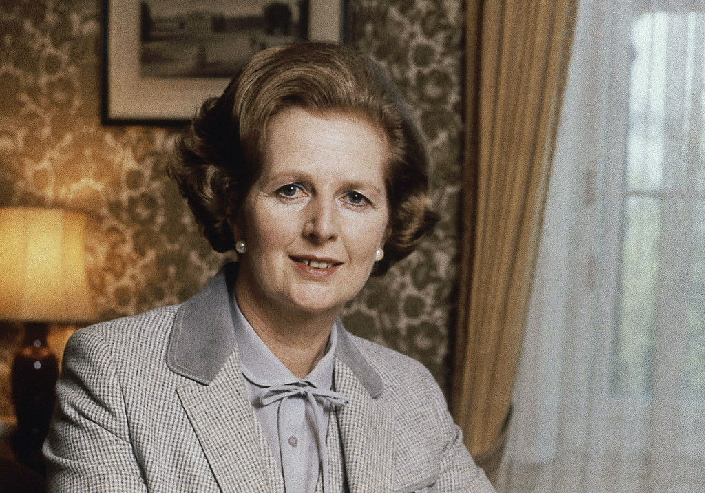 Description of . This 1980 file photo shows British Prime Minister Margaret Thatcher in London. Thatcher died of a stroke Monday morning, April 8, 2013. She was 87. (AP Photo/Gerald Penny)