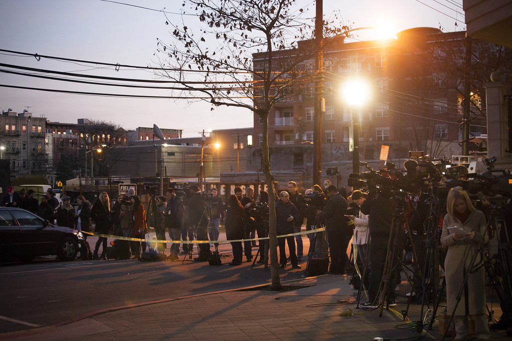Description of . Members of the media converge in front of an apartment at 1313 Grand Street, believed to be connected to the Connecticut elementary school shooting, on December 14, 2012 in Hoboken, New Jersey.  According to reports, there are 27 dead, including 20 children, after a gunman opened fire in at the Sandy Hook Elementary School in Newtown, Connecticut. The shooter, identified as Adam Lanza, was also found dead at the scene.  (Photo by Michael Nagle/Getty Images)