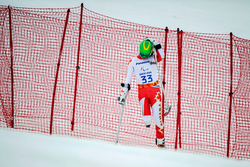 Description of . Canadian Braydon Luscombe during in the men's super-G standing race at the Winter Paralympics 2014 Sochi in Krasnaya Polyana, Russia,.  EPA/ENNIO LEANZA