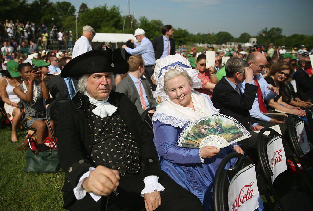 . George and Martha Washington impersonators attend the Washington Monument reopening ceremony May 12, 2014  Washington, DC.  (Photo by Mark Wilson/Getty Images)