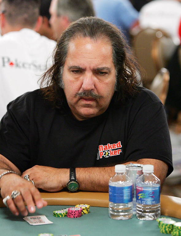 Description of . Adult film actor Ron Jeremy competes on the second day of the first round of the World Series of Poker no-limit Texas Hold 'em main event at the Rio Hotel & Casino July 29, 2006 in Las Vegas, Nevada. More than 8,600 players have registered to play in the main event. The final nine players will compete for the top prize of more than USD 11.7 million on the final table which begins August 10.  (Photo by Ethan Miller/Getty Images)