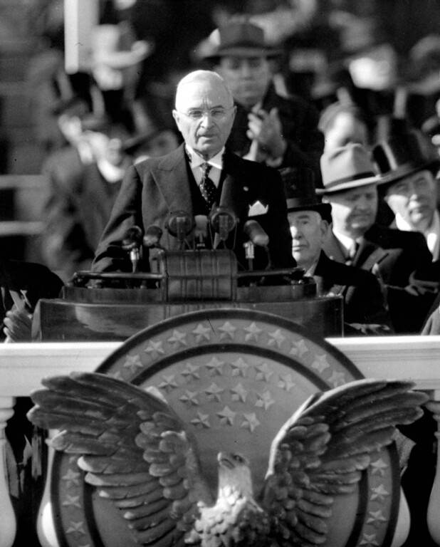 Description of . President Harry S. Truman delivers the inaugural address from Capitol portico on January 20, 1949, after taking the oath of office for his first full term as chief executive. (AP Photo/Becker)