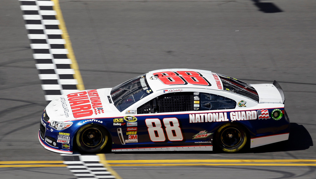 . Dale Earnhardt Jr., crosses the start/finish line during a Daytona 500 NASCAR Spring Cup Series auto race practice Wednesday, Feb. 20, 2013, in Daytona Beach, Fla. (AP Photo/Chris O\'Meara)