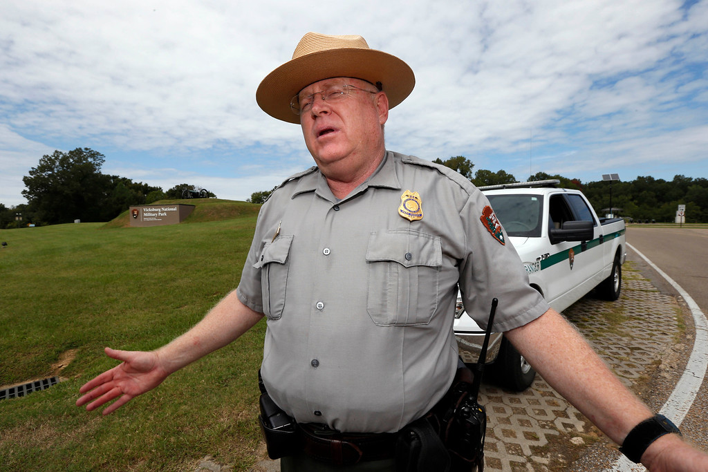Description of . Rick Martin, chief of operations at the Vicksburg National Military Park in Vicksburg, Miss., expresses his disappointment at having to close the park Tuesday, Oct. 1, 2014. The National Park Service has been directed to close all memorials, and non-essential staff has been directed to go home. (AP Photo/Rogelio V. Solis)