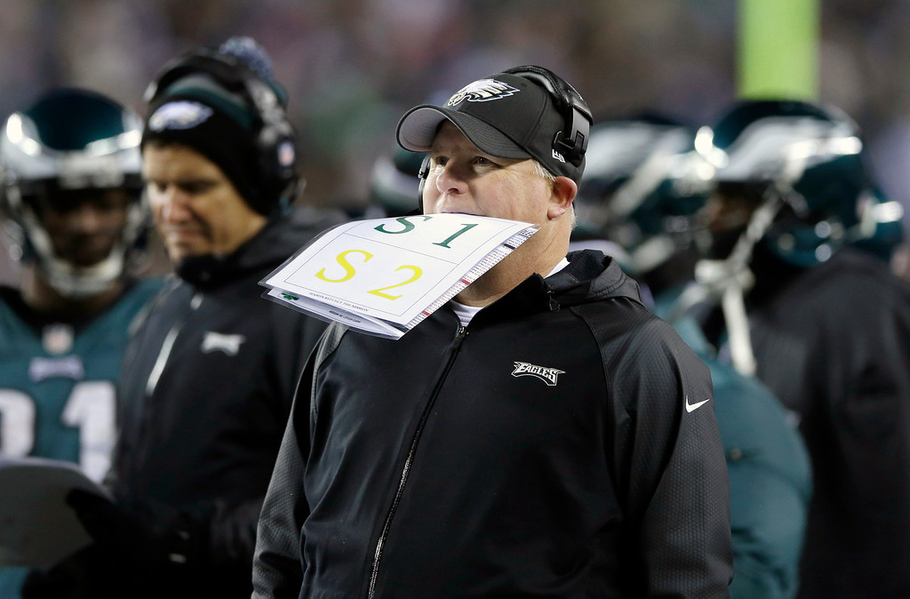 Description of . Philadelphia Eagles head coach Chip Kelly stands on the sideline as a play is being reviewed during the first half of an NFL wild-card playoff football game against the New Orleans Saints, Saturday, Jan. 4, 2014, in Philadelphia. (AP Photo/Michael Perez)