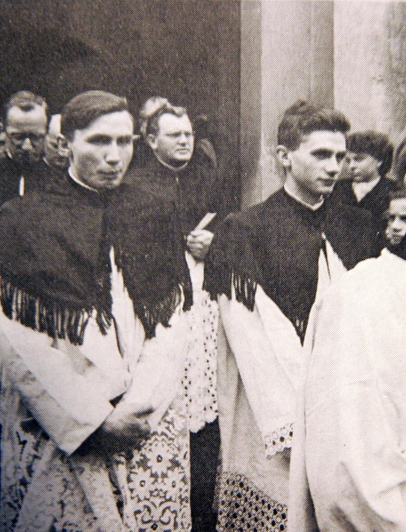 Description of . Reproduction of a picture dated 1951 shows Georg and Josef Ratzinger (R) during their ordination in Freising, southern Germany. Germany's Cardinal Joseph Ratzinger was elected the 265th pope of the Roman Catholic Church on 19 April 2005 and will take the name Benedict XVI, the Vatican announced.  REPRODUCTION TIMM SCHAMBERGER/AFP/Getty Images