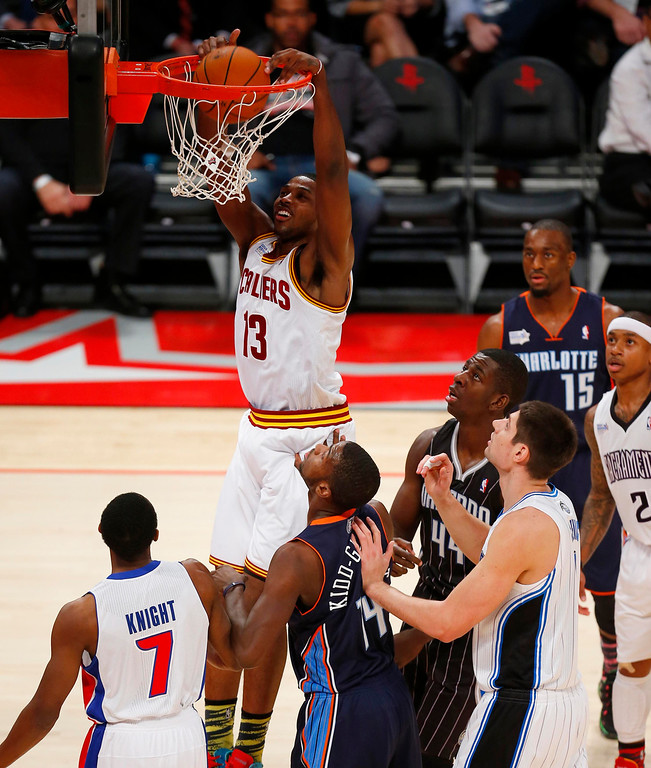 Description of . Cleveland Cavaliers Tristan Thompson (13) goes in for a dunk during the first half of the NBA BBVA Rising Star Challenge basketball game in Houston, Texas, February 15, 2013. REUTERS/Jeff Haynes