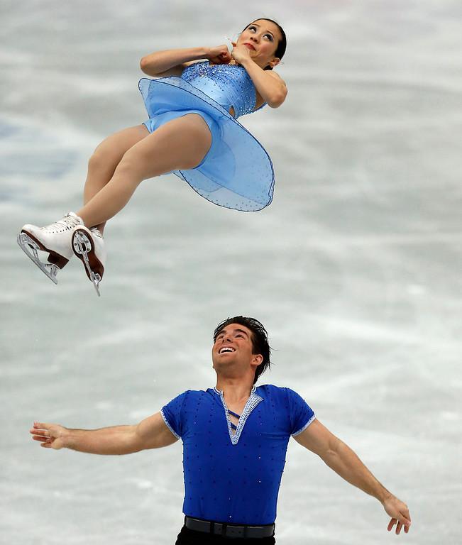 Description of . Felicia Zhang and Nathan Bartholomay of the U.S. perform during the pairs short program at the ISU Four Continents Figure Skating Championships in Osaka, western Japan, Friday, Feb. 8, 2013. (AP Photo/Shizuo Kambayashi)