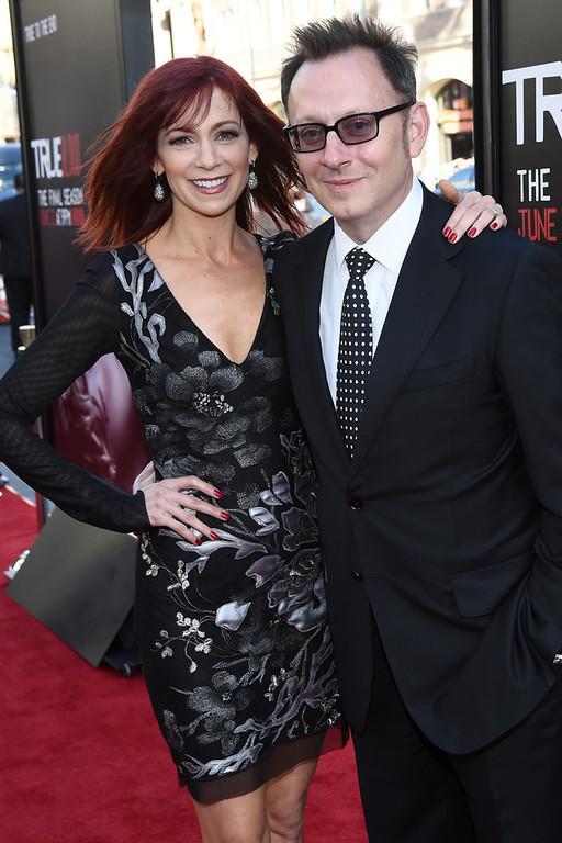 Description of . Actors Carrie Preston (L) and Michael Emerson attend Premiere Of HBO's