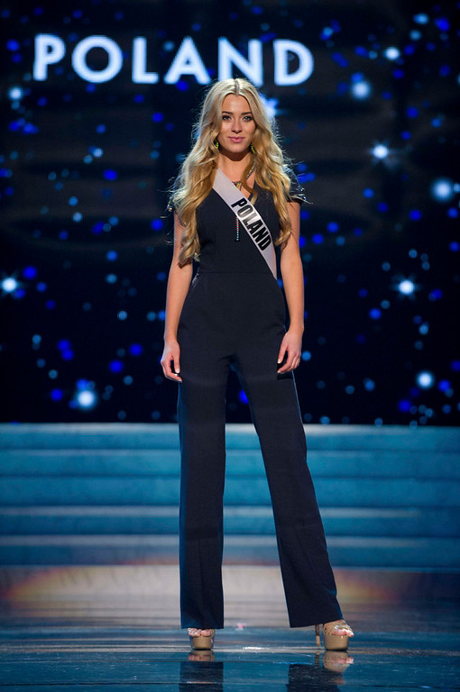 Description of . Miss Poland 2012, Marcelina Zawadzka, rehearses for the 2012 Miss Universe Presentation Show in Las Vegas, Nevada, December 13, 2012.  The Miss Universe 2012 pageant will be held on December 19, 2012 at the Planet Hollywood Resort and Casino in Las Vegas. REUTERS/Darren Decker/Miss Universe Organization L.P/Handout