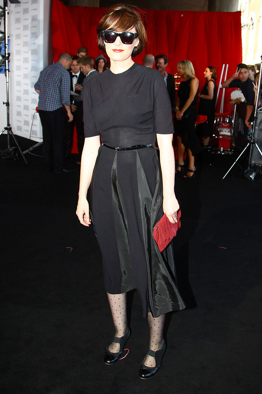 Description of . Sarah Blasko arrives for the Australian music industry Aria Awards in Sydney, Thursday, Nov. 29, 2012. (AP Photo/Rick Rycroft)