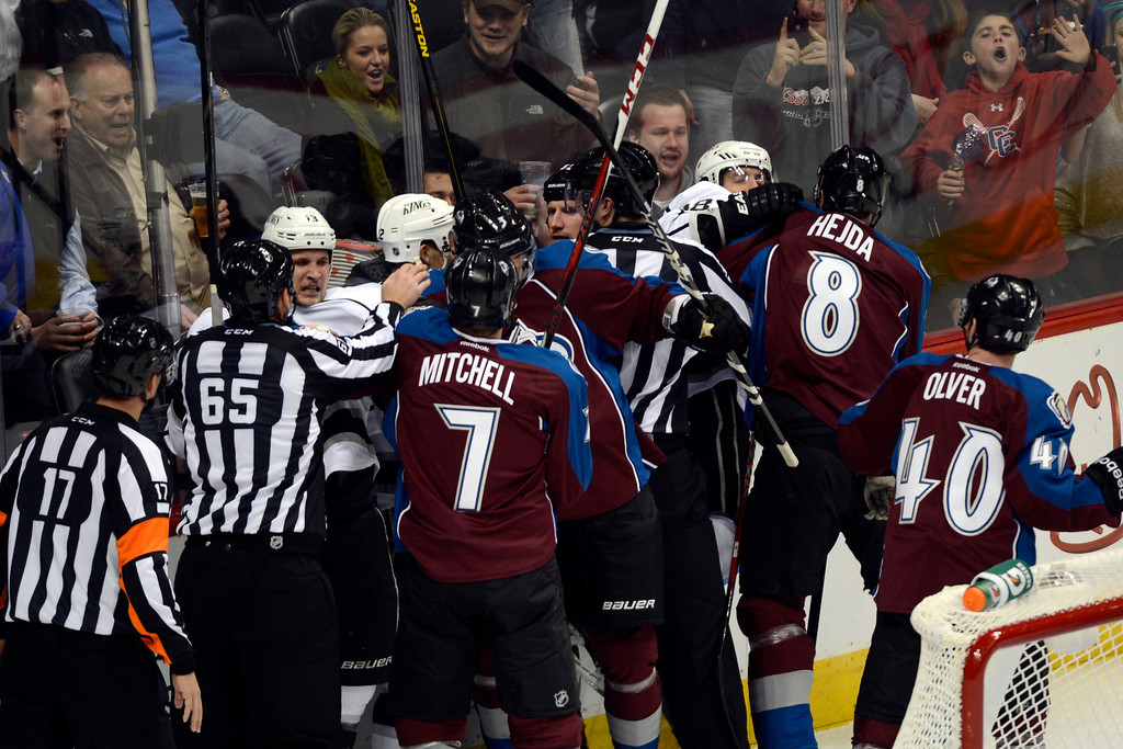 Description of . DENVER, CO. - JANUARY 22: Tempers flare between the Los Angeles Kings and the Colorado Avalanche during the second period. The Colorado Avalanche hosted the Los Angeles Kings at the Pepsi Center on January, 22, 2013.   (Photo By John Leyba / The Denver Post)