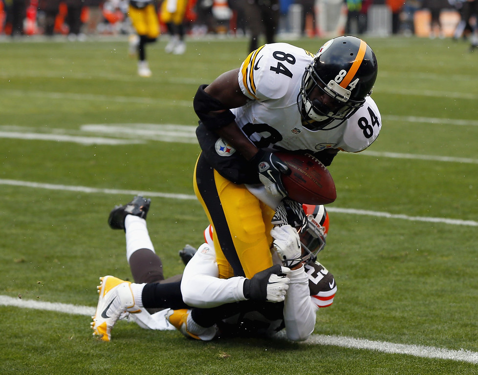 Description of . Wide receiver Antonio Brown #84 of the Pittsburgh Steelers catches a touchdown pass as his is hit by defensive back Joe Haden #23 of the Cleveland Browns at FirstEnergy Stadium on November 24, 2013 in Cleveland, Ohio.  (Photo by Matt Sullivan/Getty Images)