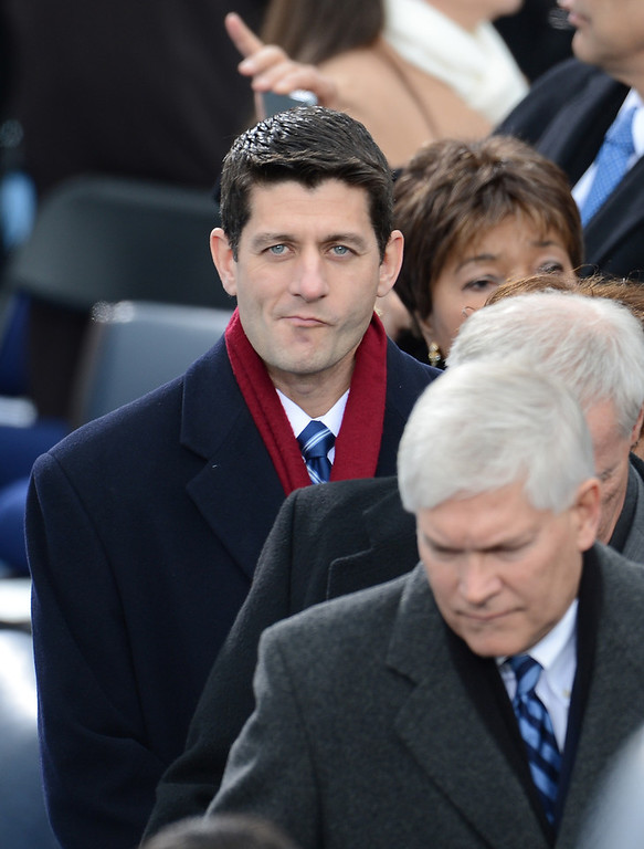 Description of . Former Republican Vice Presidential candidate Paul Ryan arrives for the 57th Presidential Inauguration ceremonial swearing-in at the US Capitol on January 21, 2013 in Washington, DC.  EMMANUEL DUNAND/AFP/Getty Images