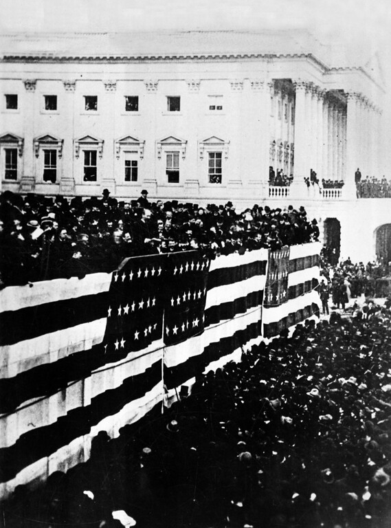 Description of . This general view shows the inauguration of James A. Garfield, the nation's 20th president, on the East Portico of the Capitol building in Washington, D.C., March 4, 1881. (AP Photo)
