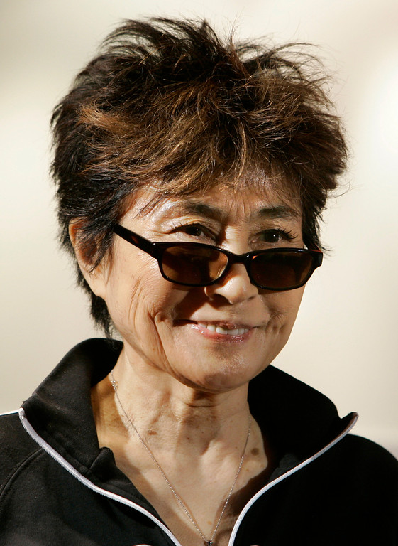 Description of . Yoko Ono, during a visit to Amnesty International's London headquarters, in this Sept. 24, 2007, file photo.  Ono, the world's most famous unknown artist, as her late husband John Lennon called her, will open an exhibition with about 80 of her artwork in South America's largest city this weekend.   The exhibition, called