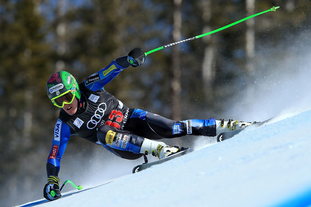 Description of . Ted Ligety of the USA skis to 31st place in the men's downhill on the Birds of Prey at the Audi FIS World Cup on November 30, 2012 in Beaver Creek, Colorado.  (Photo by Doug Pensinger/Getty Images)