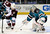 SAN JOSE, CA - JANUARY 26: Thomas Greiss #1 of the San Jose Sharks stops the stops the shot of Mark Olver #40 of the Colorado Avalanche in the first period of their game at HP Pavilion on January 26, 2013 in San Jose, California. (Photo by Thearon W. Henderson/Getty Images)