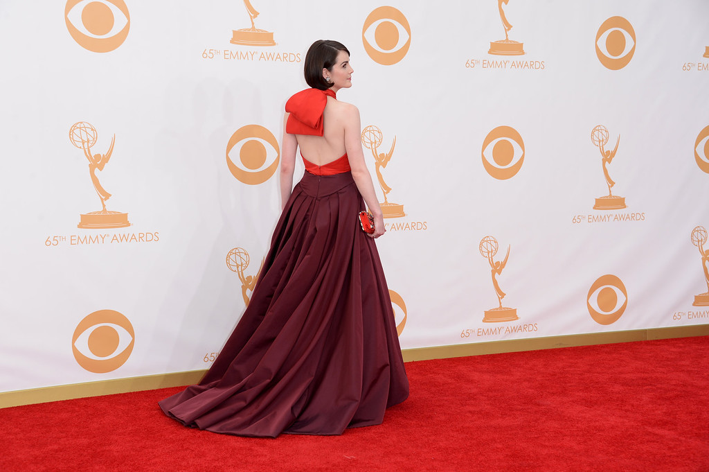 Description of . Actress Michelle Dockery arrives at the 65th Annual Primetime Emmy Awards held at Nokia Theatre L.A. Live on September 22, 2013 in Los Angeles, California.  (Photo by Jason Merritt/Getty Images)