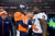 Denver Broncos quarterback Peyton Manning (18) talks to Baltimore Ravens defensive end Arthur Jones (97) as he walks off the field after losing to the Baltimore Ravens 35 to 38.  The Denver Broncos vs Baltimore Ravens AFC Divisional playoff game at Sports Authority Field Saturday January 12, 2013. (Photo by Tim Rasmussen,/The Denver Post)