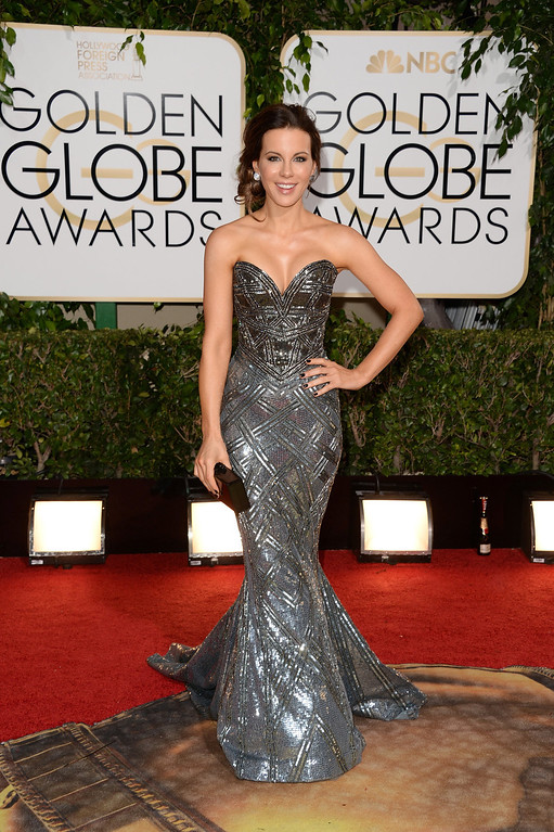 Description of . Actress Kate Beckinsale attends the 71st Annual Golden Globe Awards held at The Beverly Hilton Hotel on January 12, 2014 in Beverly Hills, California.  (Photo by Jason Merritt/Getty Images)