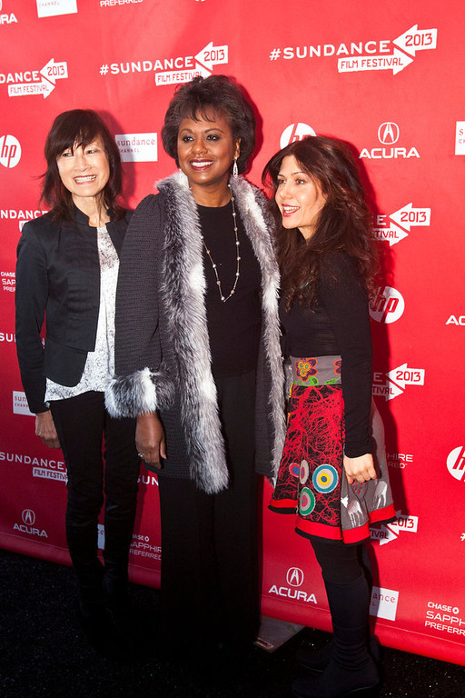 Description of . Chris Detrick  |  The Salt Lake Tribune Director Freida Lee Mock, Anita Hill and Composer Lili Haydn poses for pictures before the premiere of 'Anita' during the 2013 Sundance Film Festival in Park City, Utah Saturday January 19, 2013