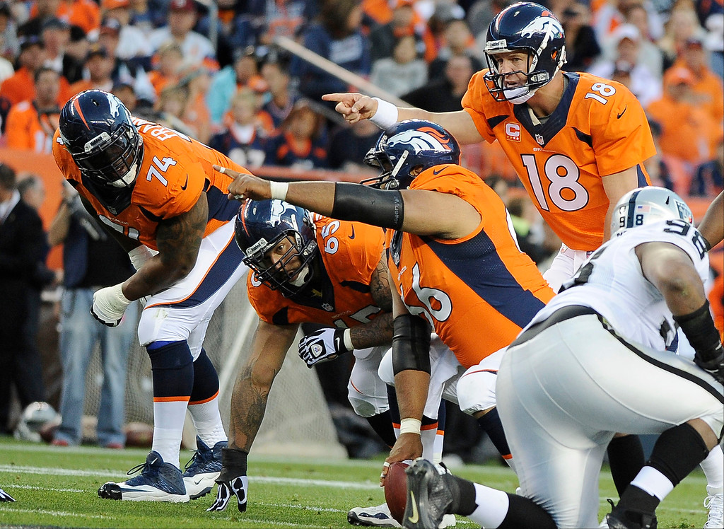 Description of . Denver Broncos quarterback Peyton Manning (18) points at the defense in the first quarter. The Denver Broncos took on the Oakland Raiders at Sports Authority Field at Mile High in Denver on September 23, 2013. (Photo by Steve Nehf/The Denver Post)