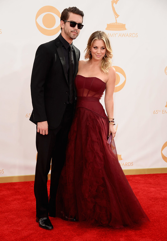 Description of . Professional Tennis Player Ryan Sweeting and actress Kaley Cuoco arrive at the 65th Annual Primetime Emmy Awards held at Nokia Theatre L.A. Live on September 22, 2013 in Los Angeles, California.  (Photo by Frazer Harrison/Getty Images)