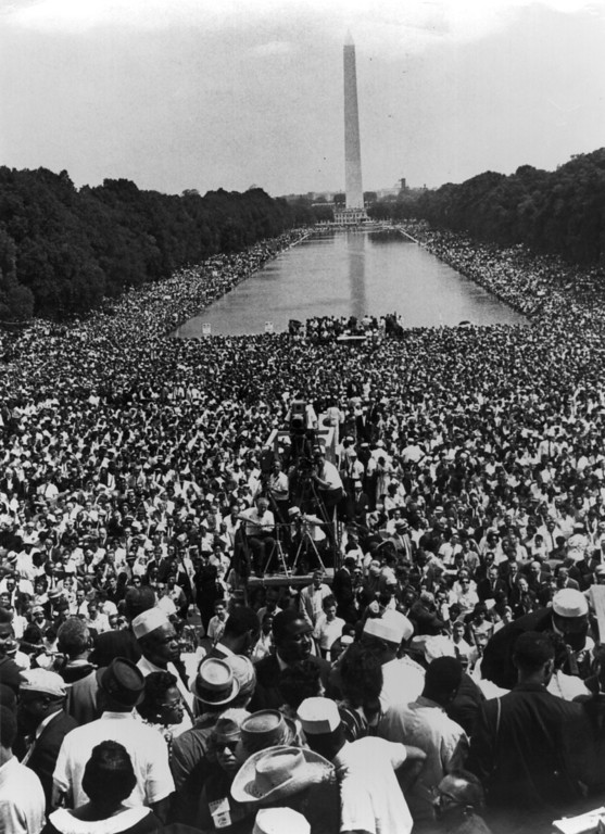 Description of . 28th August 1963: Over 200,000 people gather around the Lincoln Memorial in Washington DC, where the civil rights March on Washington ended with Martin Luther King's 'I Have A Dream' speech.   (Photo by Hulton Archive/Getty Images)