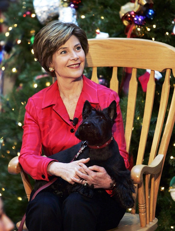 Description of . First lady Laura Bush, holds her pet dog Barney during a visit to the Children's National Medical Center, Wednesday, Dec. 15, 2004, in Washington. The visit has been a holiday tradition for the U.S. first ladies each year starting with Mrs. Jacqueline Kennedy. (AP Photo/Manuel Balce Ceneta)