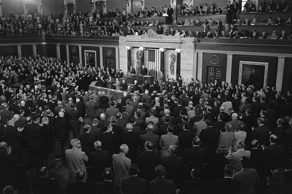 Description of . President Kennedy addresses Congress on May 26, 1961, to raise funds in order to send the first man to the moon before 1970. AFP/Getty Images