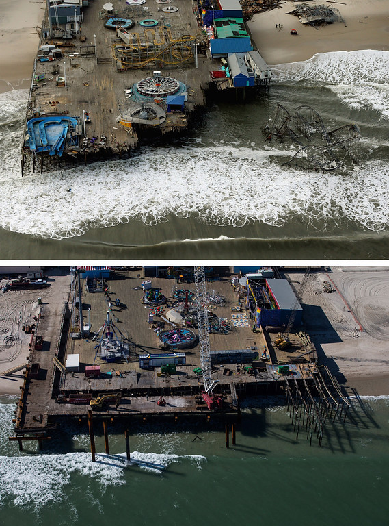 Description of . SEASIDE HEIGHTS, NJ - OCTOBER 31: (top)  The boardwalk and amusement park in Seaside Heights, New Jersey is shown destroyed by Superstorm Sandy on October 31, 2012. (Photo by  Mario Tama/Getty Images)     SEASIDE HEIGHTS, NJ - OCTOBER 21: (bottom)   The boardwalk and amusement park in Seaside Heights, New Jersey is shown October 21, 2013.  Hurricane Sandy made landfall on October 29, 2012 near Brigantine, New Jersey and affected 24 states from Florida to Maine and cost the country an estimated $65 billion.  (Photo by Andrew Burton/Getty Images)