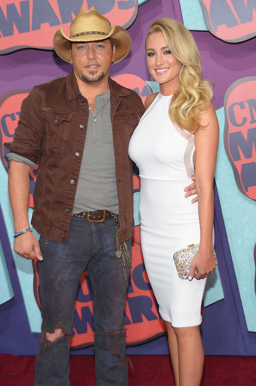 Description of . Jason Aldean and Brittany Kerr attend the 2014 CMT Music awards at the Bridgestone Arena on June 4, 2014 in Nashville, Tennessee.  (Photo by Michael Loccisano/Getty Images)