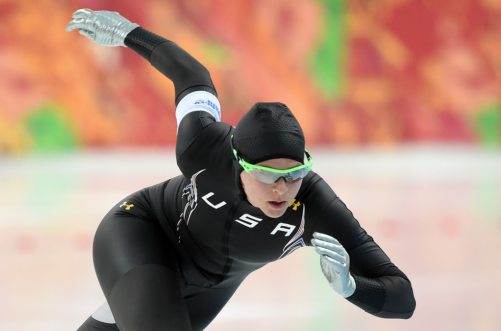 Description of . US speed-skater Brittany Bowe competes in the Women's Speed Skating 500 m at the Adler Arena during the 2014 Sochi Winter Olympics on February 11, 2014.   ANDREJ ISAKOVIC/AFP/Getty Images