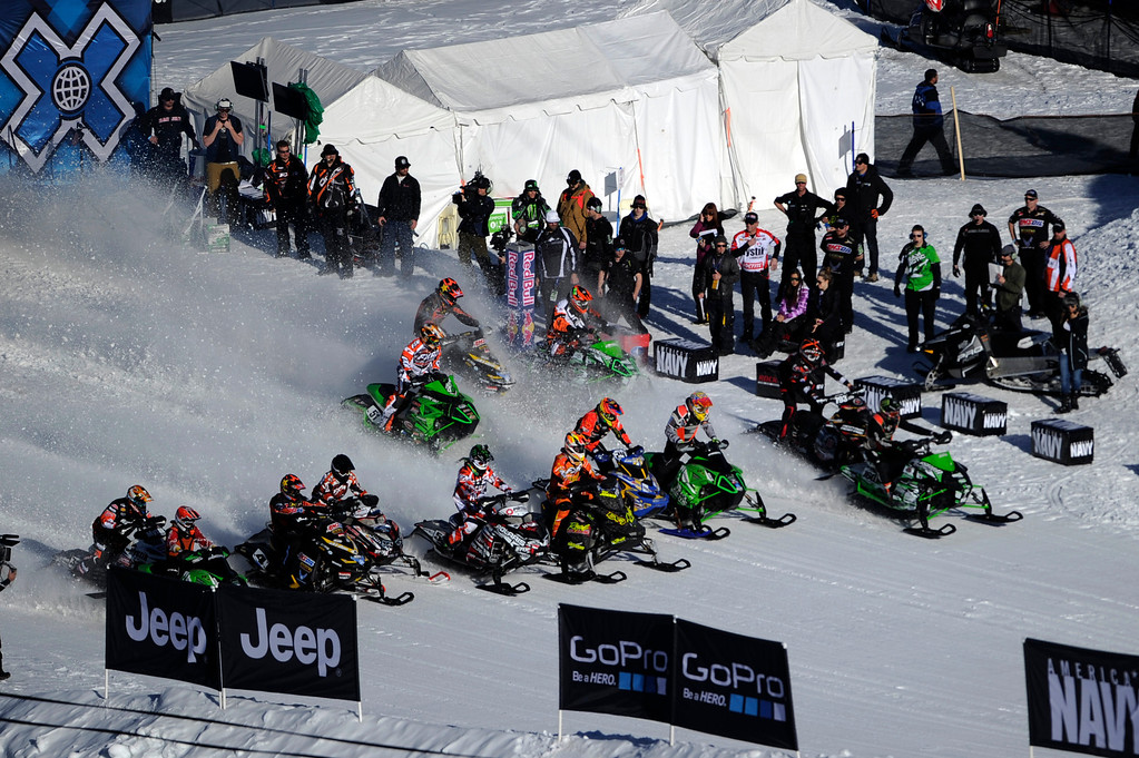 Description of . ASPEN, CO - January 27: Competitors in the snowmobile SnoCross event start the final at Winter X Games Aspen 2013 at Buttermilk Mountain on Jan. 27, 2013, in Aspen, Colorado. (Photo by Daniel Petty/The Denver Post)