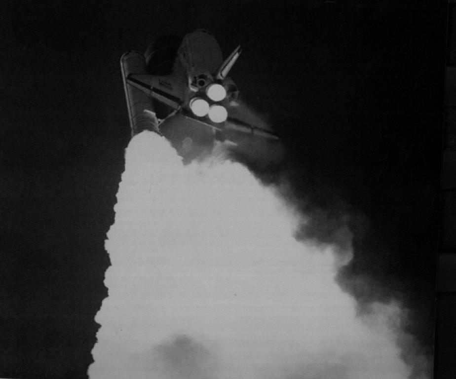 Description of . The space shuttle Challenger as it blasted into space from Kennedy Space Center last Wednesday.  Denver Post Library Archive