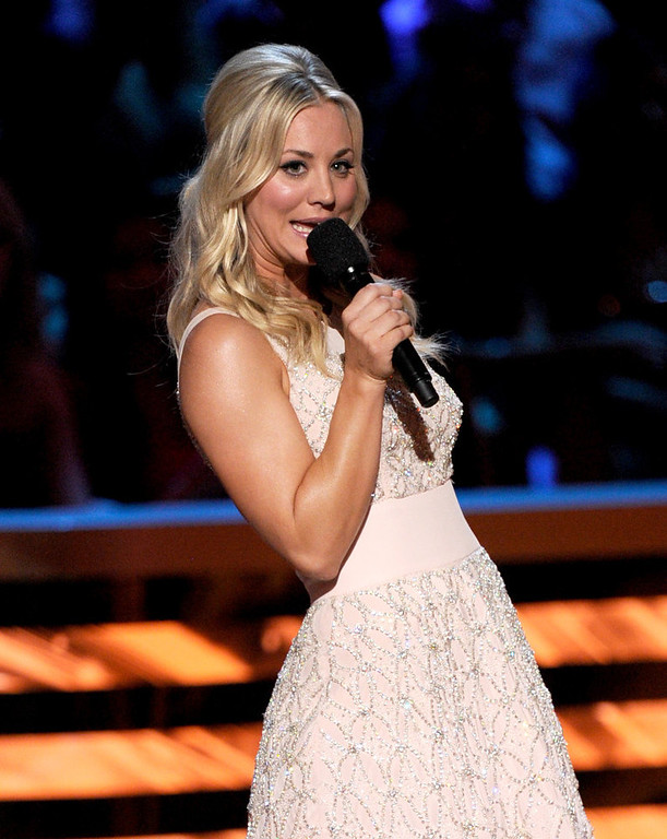 Description of . Host Kaley Cuoco speaks onstage at the 39th Annual People's Choice Awards  at Nokia Theatre L.A. Live on January 9, 2013 in Los Angeles, California.  (Photo by Kevin Winter/Getty Images for PCA)