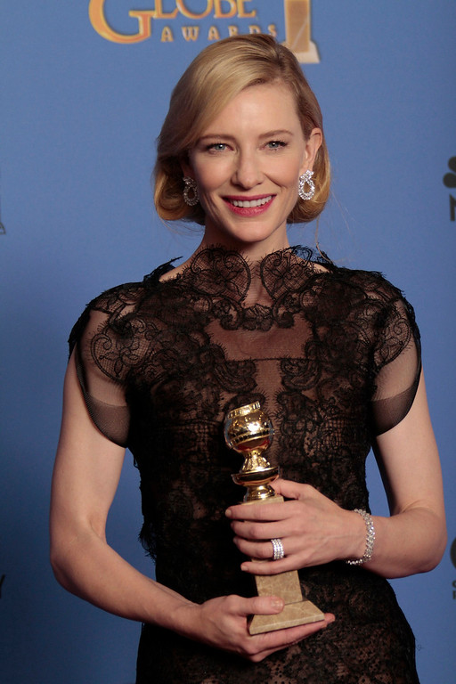 Description of . Cate Blanchett backstage at the 71st Annual Golden Globe Awards show at the Beverly Hilton Hotel on Sunday, Jan. 12, 2014, in Beverly Hills, Calif. (Lawrence K. Ho/Los Angeles Times/MCT)