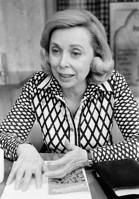 Description of . Dr. Joyce Brothers, pictured in San Francisco on April 24, 1978 during an interview, is still an old-fashioned woman who won't tell her age, primps for photographers and is being paid to preach the virtues of aerosol products. (AP Photo/JP)