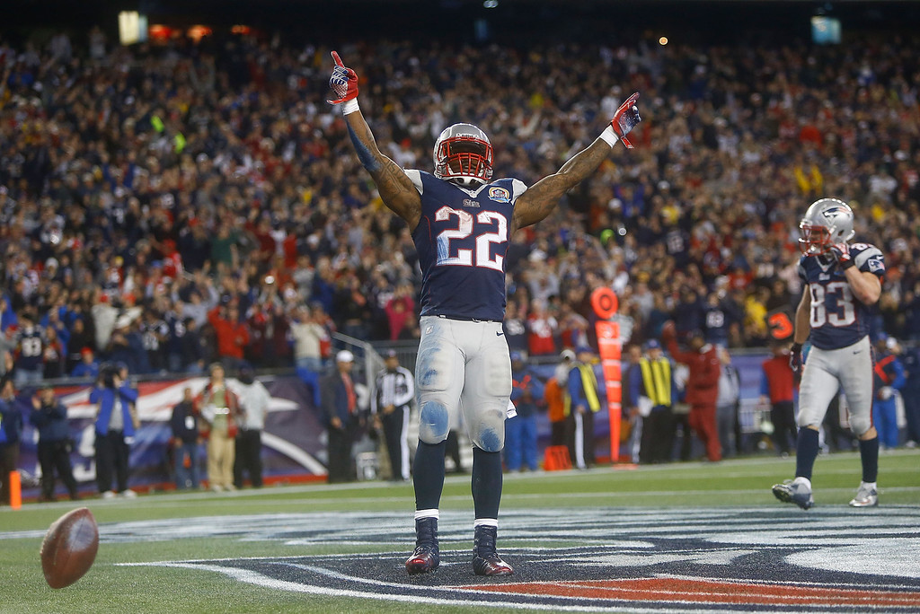 Description of . FOXBORO, MA - DECEMBER 10: Stevan Ridley #22 of the New England Patriots celebrates after scoring a touchdown in the fourth quarter against the Houston Texans during the game at Gillette Stadium on December 10, 2012 in Foxboro, Massachusetts. (Photo by Jared Wickerham/Getty Images)