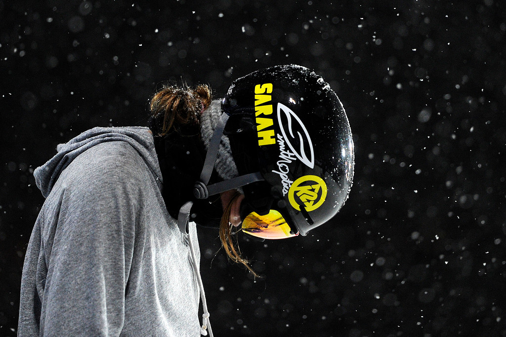 """Description of . Brita Sigourney takes a moment while sporting \""""Sarah\"""" in honor of the late Sarah Burke before a practice run on the super pipe during Winter X Games 2012 at Buttermilk Mountain in Aspen on Thursday, January 26. AAron Ontiveroz, The Denver Post"""