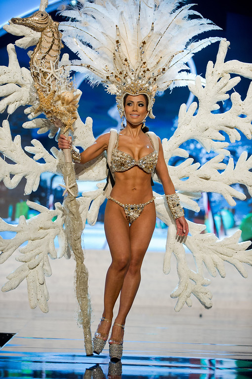 Description of . Miss Honduras 2012, Jennifer Andrade, performs onstage at the 2012 Miss Universe National Costume Show on Friday, Dec. 14, 2012 at PH Live in Las Vegas, Nevada. The 89 Miss Universe Contestants will compete for the Diamond Nexus Crown on Dec. 19, 2012. (AP Photo/Miss Universe Organization L.P., LLLP)